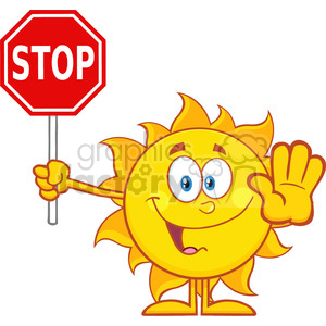 10129 cute sun cartoon mascot character gesturing and holding a stop sign vector illustration isolated on white background clipart. Royalty-free image # 400036