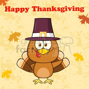 8994 happy thanksgiving greeting with cute pilgrim turkey bird cartoon character waving vector illustration clipart. Royalty-free image # 400046