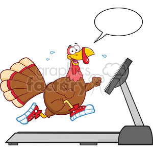 smiling turkey cartoon character running on a treadmill with speech bubble vector illustration isolated on white clipart. Royalty-free image # 400056