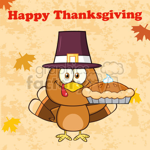 happy thanksgiving greeting with cute pilgrim turkey bird cartoon character waving vector illustration clipart. Commercial use image # 400066