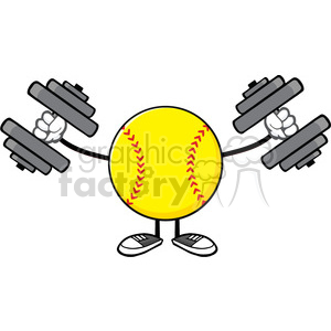 softball faceless cartoon mascot character working out with dumbbells vector illustration isolated on white background clipart. Royalty-free image # 400096