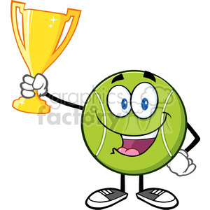 happy tennis ball cartoon character holding a trophy cup vector illustration isolated on white clipart. Royalty-free image # 400106