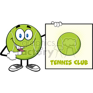 talking tennis ball cartoon mascot character pointing to a sign tennis club vector illustration isolated on white clipart. Royalty-free image # 400126