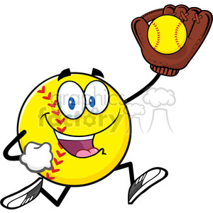 softball cartoon character running with glove and ball vector illustration isolated on white background clipart. Royalty-free image # 400136