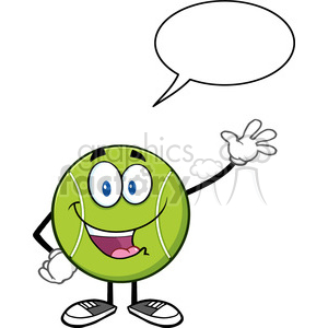 cute tennis ball cartoon character waving with speech bubble vector illustration isolated on white clipart. Royalty-free image # 400146