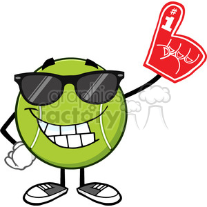 smiling tennis ball cartoon mascot character with sunglasses wearing a foam finger vector illustration isolated on white clipart. Royalty-free image # 400156