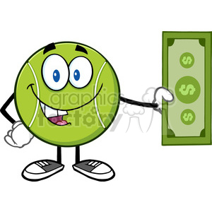 tennis ball cartoon mascot character holding a dollar bill vector illustration isolated on white clipart. Royalty-free image # 400166