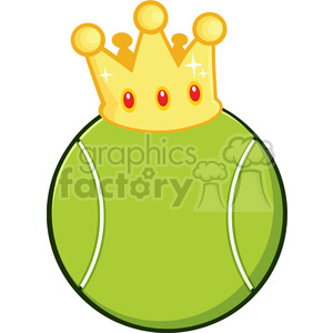cartoon tennis ball with a golden crown vector illustration isolated on white clipart. Commercial use image # 400176