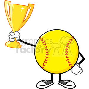 softball faceless cartoon character holding a trophy cup vector illustration isolated on white background clipart. Royalty-free image # 400186