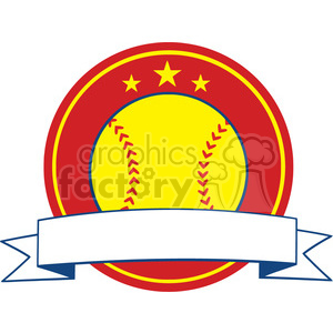 yellow softball logo design label vector illustration isolated on white background clipart. Royalty-free image # 400206