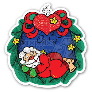 christmas wreath sticker clipart. Royalty-free image # 400369