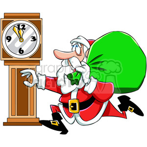 cartoon santa late running run bag delivery time clock