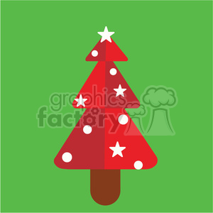red christmas tree on green square vector flat design