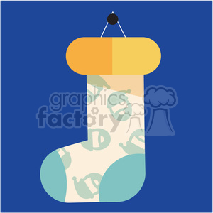 one cartoon christmas stocking on blue square vector flat design clipart. Commercial use image # 400513