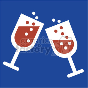 champagne glasses new years cheers on a blue square icon vector art clipart. Royalty-free image # 400533
