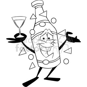 black and white cartoon champagne bottle new years party vector art