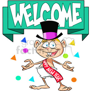welcome the new year baby new year cartoon vector art clipart. Royalty-free image # 400553