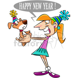 girl telling her pet happy new year cartoon clipart. Commercial use image # 400563