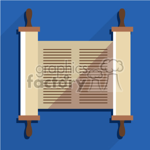 jewish torah scroll flat vector art icon with shadow clipart. Commercial use image # 400583