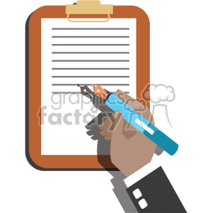 hand signing a contract flat design vector art no background clipart. Commercial use image # 400633