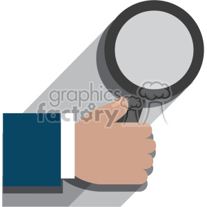 hand holding a magnifying glass flat design vector art no background clipart. Royalty-free image # 400643