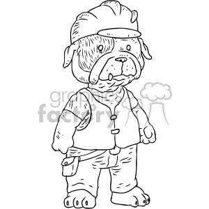 illustration outline black+white construction worker dog dogs employee