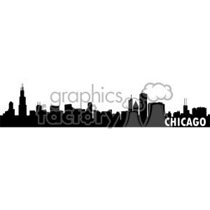 chicago city skyline vector art fill