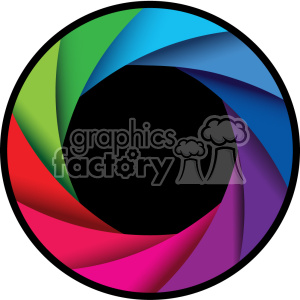 vector camera shutter colorful shaded design with border icon clipart. Royalty-free image # 402370