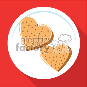 heart shaped toast forvalentines breakfast vector art flat design clipart. Commercial use image # 402380