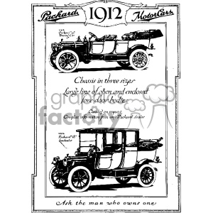 1912 vintage car ad vintage 1900 vector art GF clipart. Royalty-free image # 402460