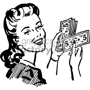 vintage retro old black+white women counting money making+it+rain lady female dollars income financial profit