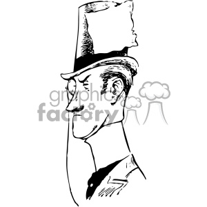 man with top hat with label vintage 1900 vector art GF clipart. Commercial use image # 402530