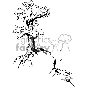 tree on top of hill vintage 1900 vector art GF clipart. Royalty-free image # 402555