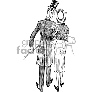 couple walking away vintage 1900 vector art GF clipart. Commercial use image # 402585