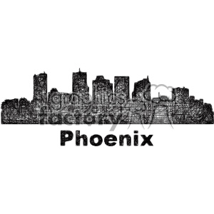 black and white city skyline vector clipart USA Phoenix