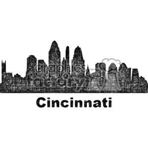 black and white city skyline vector clipart USA Cincinnati clipart. Commercial use image # 402700