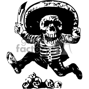 Jose Guadalupe Posada skull art 1903 clipart. Commercial use image # 403112