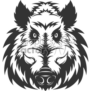 wild boar head vector art clipart. Commercial use image # 403152