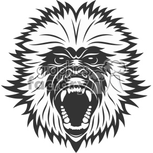 monkey head vector art clipart. Royalty-free image # 403162