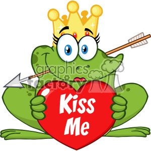 10660 Royalty Free RF Clipart Cute Princess Frog Cartoon Mascot Character With Crown And Arrow Holding A Love Heart With Text Kiss Me Vector Illustration