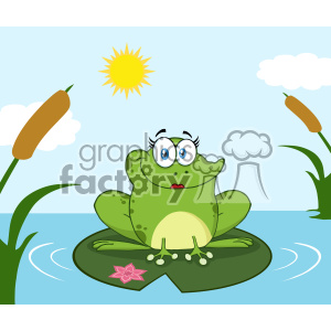 Smiling Frog Female Cartoon Mascot Character Perched On A Pond Lily Pad In Lake Vector With Background clipart. Commercial use image # 403349