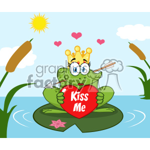Cute Princess Frog Cartoon Mascot Character With Crown And Arrow Holding A Love Heart With Text Kiss Me Perched On A Pond Lily Pad In Lake clipart. Royalty-free image # 403354