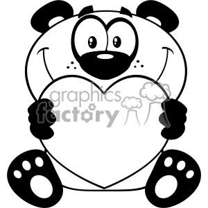10681 Royalty Free RF Clipart Black And White Panda Bear Cartoon Mascot Character Holding A Valentine Love Heart Vector Illustration
