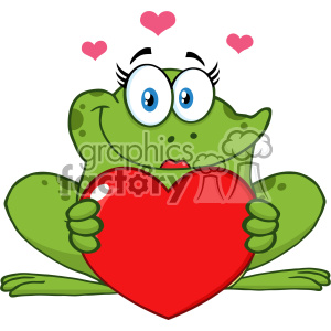 10663 Royalty Free RF Clipart Smiling Frog Female Cartoon Mascot Character Holding A Valentine Love Heart Vector Illustration clipart. Commercial use image # 403364
