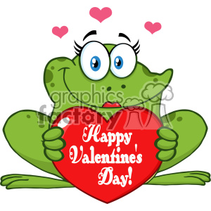 10672 Royalty Free RF Clipart Smiling Frog Female Cartoon Mascot Character Holding A Valentine Love Heart With Text Happy Valentines Day Vector Illustration