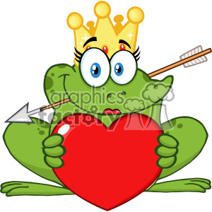 10659 Royalty Free RF Clipart Cute Princess Frog Cartoon Mascot Character With Crown And Arrow Holding A Love Heart Vector Illustration