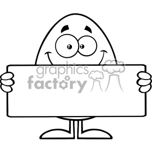 10935 Royalty Free RF Clipart Black And White Cute Egg Cartoon Mascot Character Holding A Blank Sign Vector Illustration clipart. Royalty-free image # 403384