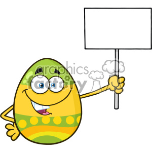 10978 Royalty Free RF Clipart Colored Easter Egg Cartoon Mascot Character Holding A Blank Sign Vector Illustration