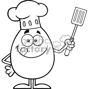 10925 Royalty Free RF Clipart Black And White Chef Egg Cartoon Mascot Character Licking His Lips And Holding A Spatula Vector Illustration
