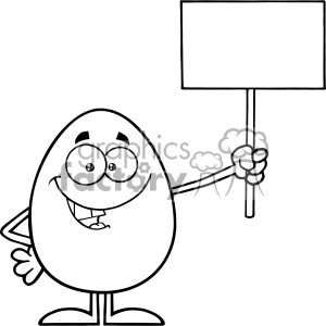 10929 Royalty Free RF Clipart Black And White Talking Egg Cartoon Mascot Character Holding A Blank Sign Vector Illustration